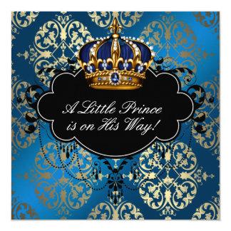 De koninklijke Marineblauwe Gouden Douche van de 13,3x13,3 Vierkante Uitnodiging Kaart