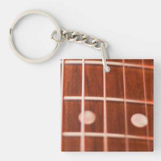 De koorden van de gitaar 1-Zijde vierkante acryl sleutelhanger