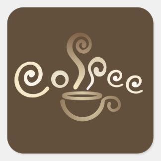 De kop vierkante sticker van de koffie