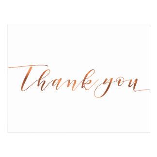 De koper-blik dankt u manuscriptontwerp briefkaart