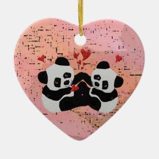 De kostbare Harten van de Panda Keramisch Hart Ornament