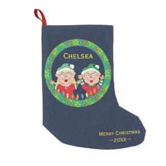 """De Kous """"Gelukkige Elf """" van Kerstmis Kleine Kerstsok"""