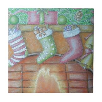 De kous van Kerstmis Tegeltje Vierkant Small
