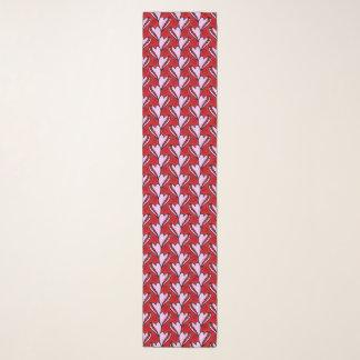 de krabbel rood en roze patroon van de hartvorm sjaal