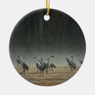 De Kranen van Sandhill in de Vroege Mist van de Rond Keramisch Ornament