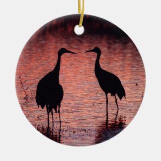 De kranen van Sandhill Rond Keramisch Ornament