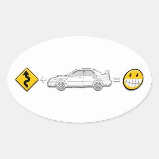 De krommen, Subaru, evenaart pretsticker Ovale Sticker