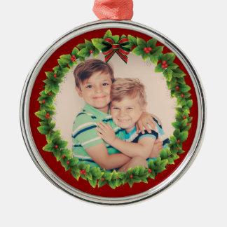De Kroon van Kerstmis van de douane voegt Uw Eigen Zilverkleurig Rond Ornament