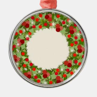 De Kroon van Kerstmis Zilverkleurig Rond Ornament