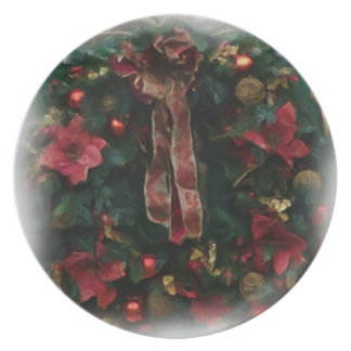 De Kroon w/Poinsettias van Kerstmis buigt digitale Party Bord