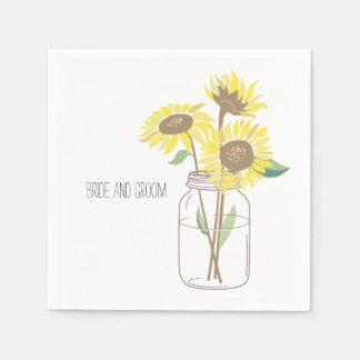 De Kruik van de Metselaar van zonnebloemen Wegwerp Servet