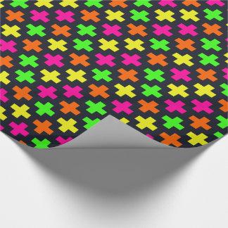 De Kruisen van het neon op blauw-Zwarte Inpakpapier