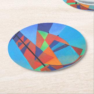 De kubiste Abstracte Boot van de Troep tegen Diepe Ronde Onderzetter