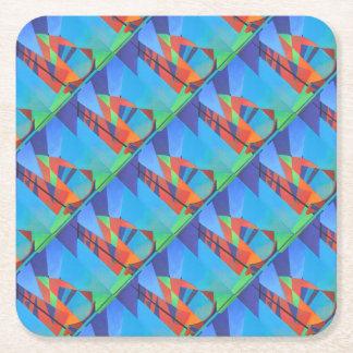 De kubiste Abstracte Boot van de Troep tegen Diepe Vierkante Onderzetter
