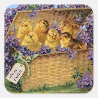 De Kuikens van Pasen in een Mand Vierkante Sticker