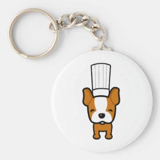 De Kunst van de Chef-kok van de hond op Keychain Basic Ronde Button Sleutelhanger