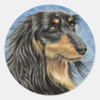 De Kunst van de hond - de Langharige Kunst Marcus Ronde Sticker