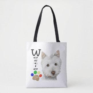 De Kunst van de Honden van Westie helemaal over de Draagtas