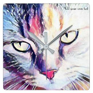 de kunstklok van kattenogen vierkante klok