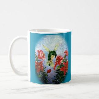 De kunstmok van Lillies van de kolibrie en van de Koffiemok