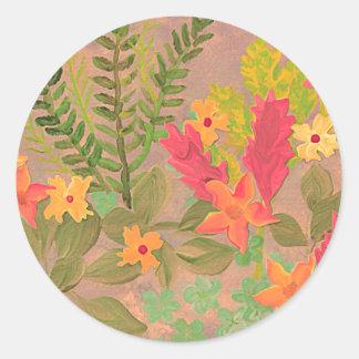 De kunststicker van bloemen & van Kruiden Ronde Stickers