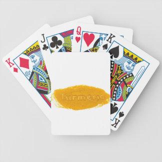 De Kurkuma van Word die in poeder op witte Poker Kaarten