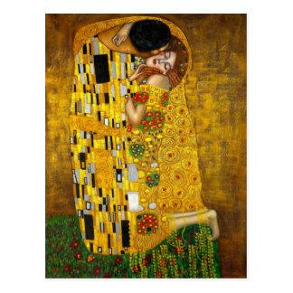 De kus door Gustav Klimt Briefkaart