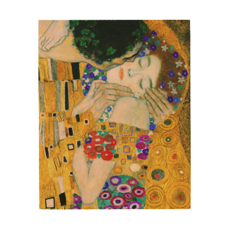 De kus door Gustav Klimt Hout Afdruk
