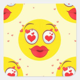 De kus Emoji van Valentijn Vierkante Sticker