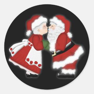De Kus van Kerstmis Ronde Sticker