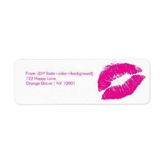 De kus van PixDezines/lippen/heet roze Retouretiket