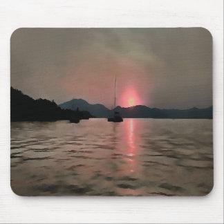 De Kusten van de zonsondergang in Roze en Grijs Muismatten