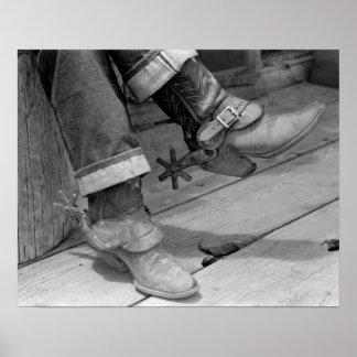 De Laarzen van de cowboy, 1940. Vintage Foto Poster