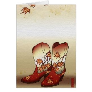 De Laarzen van de herfst met het Motief van het Kaart