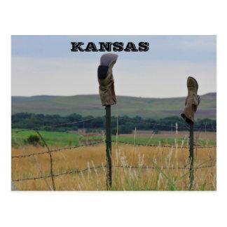 De Laarzen van de Landbouwers van Kansas op een Briefkaart