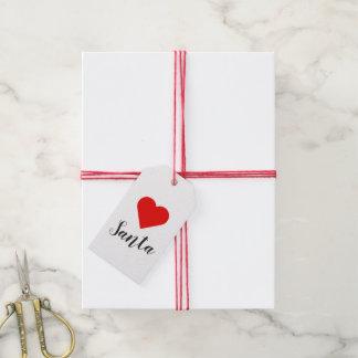 De Labels van de Gift van de Kerstman van het hart Cadeaulabel