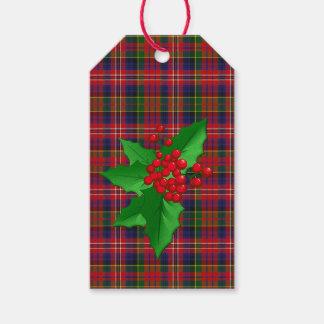 De Labels van de Gift van Kerstmis van de Plaid Cadeaulabel