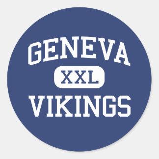 De Lage school Genève Illinois van Genève Vikingen Ronde Sticker