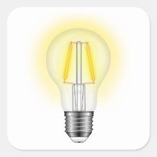 De Lamp van de gloed Vierkante Sticker