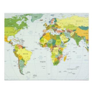 De Landen van de Atlas van het Wereldbol van de Perfect Poster