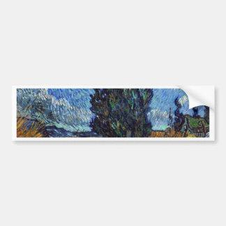 De Landweg van Vincent van Gogh in 's nachts de Bumpersticker