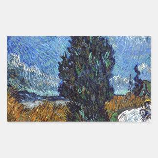De Landweg van Vincent van Gogh in 's nachts de Rechthoekige Sticker