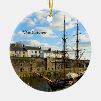 De lange Haven Cornwall Engeland van Charlestown Rond Keramisch Ornament
