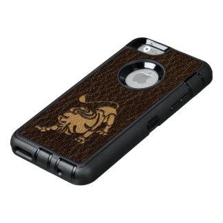 De Leeuw van de leder-blik OtterBox Defender iPhone Hoesje
