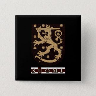 De Leeuw van Finland Vierkante Button 5,1 Cm