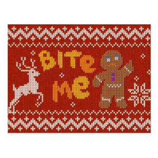 De lelijke Sweater van Kerstmis: Bijt me het Man Briefkaart