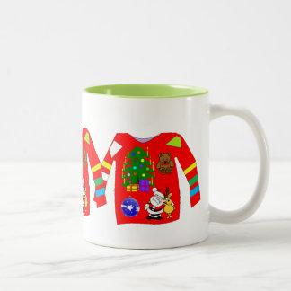 De lelijke Sweater van Kerstmis Tweekleurige Koffiemok