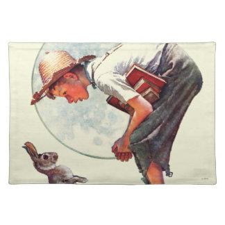 De lente, de jongen van 1935 met konijntje placemat