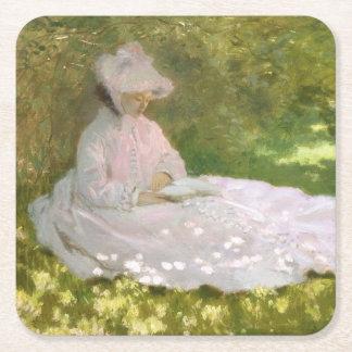 De lente door Claude Monet Vierkante Onderzetter