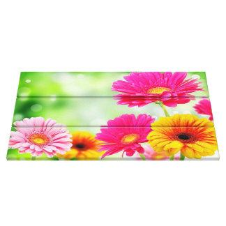 De lente gooit Roze Daisy Floral Stretched Canvas Afdrukken